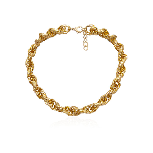 Twisted Gold Chain Short Necklace - Damnbling