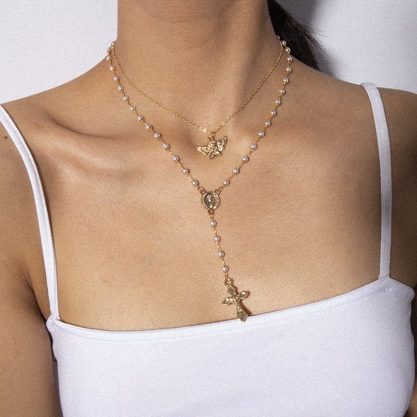 Petite Pearl Cross Pendent Layering Necklace - Damnbling