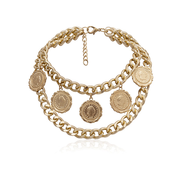 Golden Coin Chain Statement Short Necklace - Damnbling