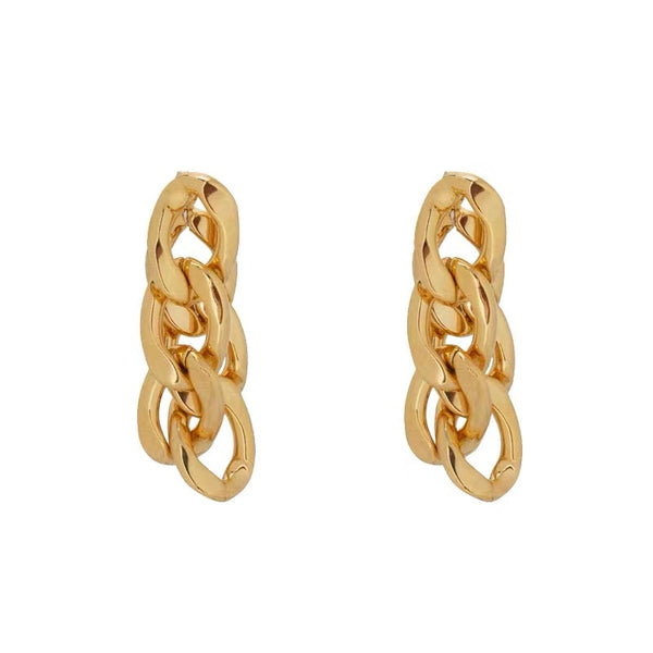 Gold Twisted Chain Drop Earrings - Damnbling