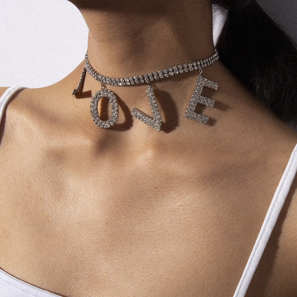 LOVE Bling Text Short Necklace - Damnbling