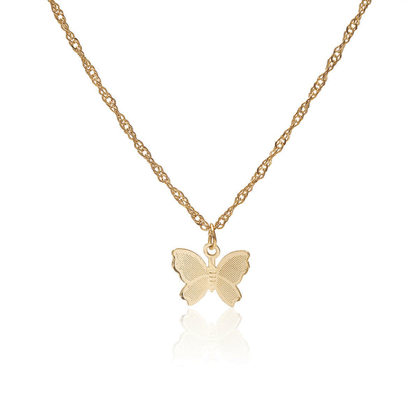 Metallic Butterfly Charm Necklace - Damnbling