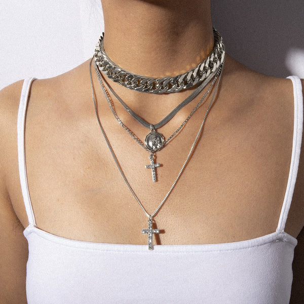 Cross Pendent Chain Layering Necklace - Damnbling
