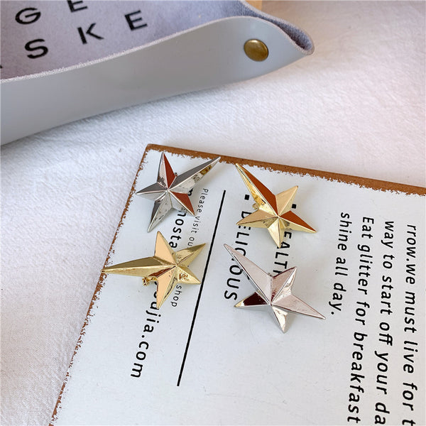 Metallic Spiky Star Post Earrings - Damnbling