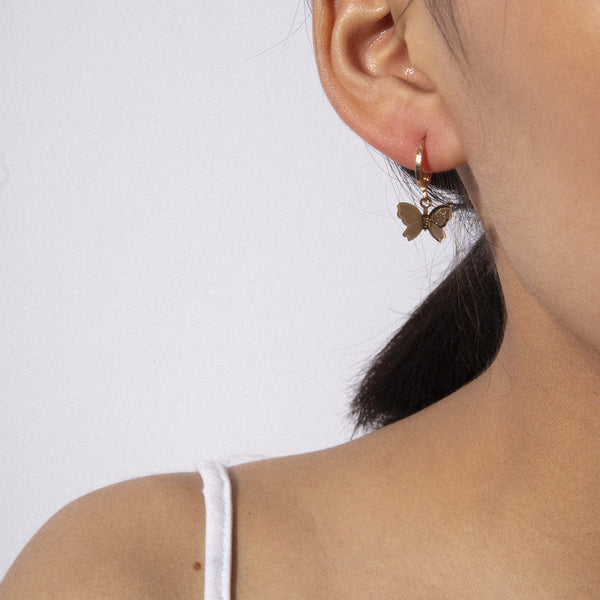Metallic Butterfly Drop Earrings - Damnbling
