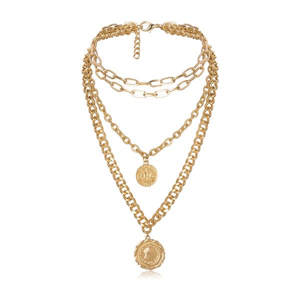 Queen Gold Coin Gold Layering Necklace - Damnbling