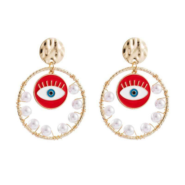 Evil Eye Pearl Rain Hoop Earrings - Damnbling