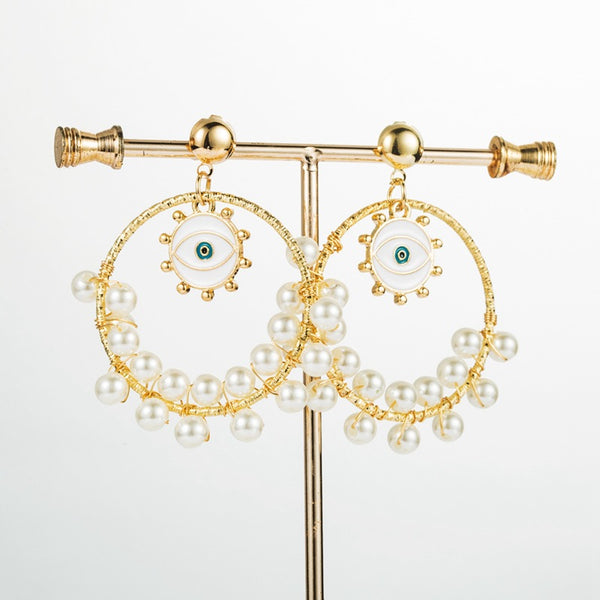White Evil Eye Pearl Rain Hoop Earrings - Damnbling