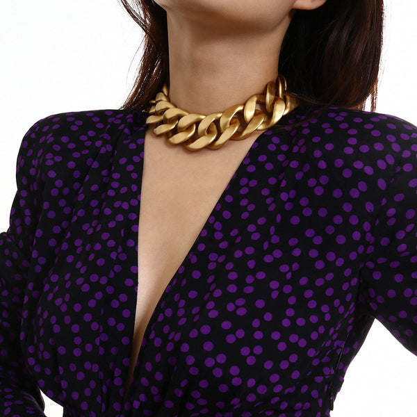 Super Chunky Gold Statement Short Necklace - Damnbling