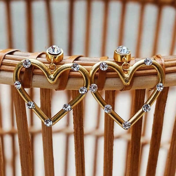 Diamond Golden Heart Hoop Earrings - Damnbling