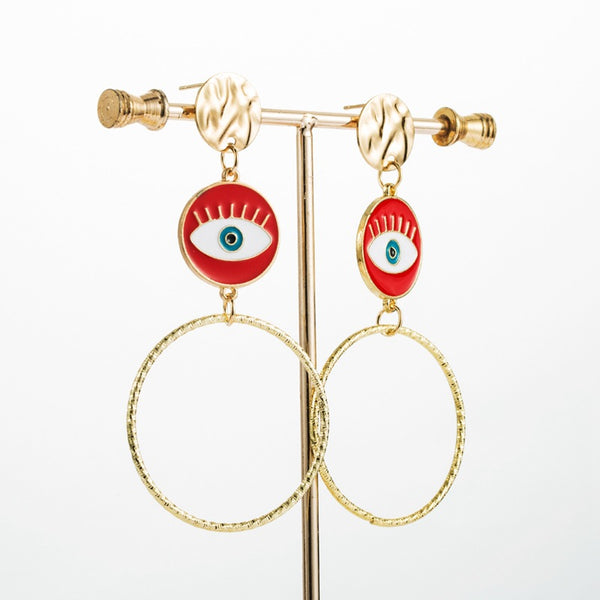 Red Evil Eye Gold Hoop Earrings - Damnbling