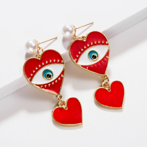 Red Heart Statement Drop Earrings - Damnbling
