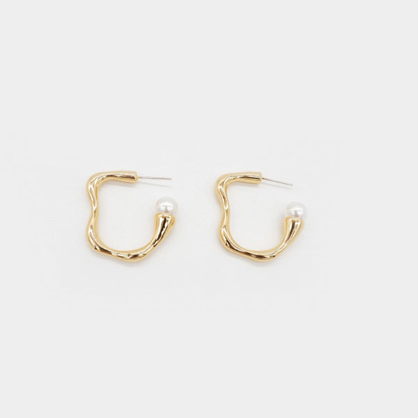 Pearl Mini Hoop Earrings - Damnbling