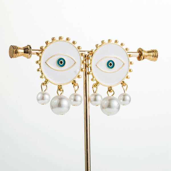 Evil Eye Pearl Post Earrings - Damnbling