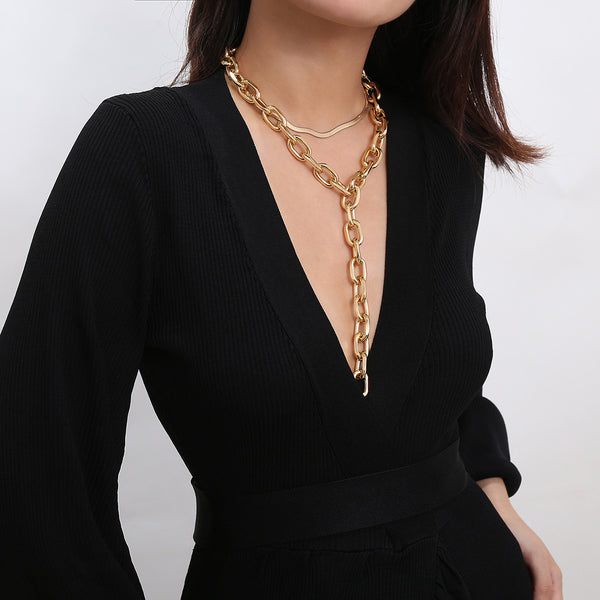 Modern Gold Long Chain Necklace - Damnbling