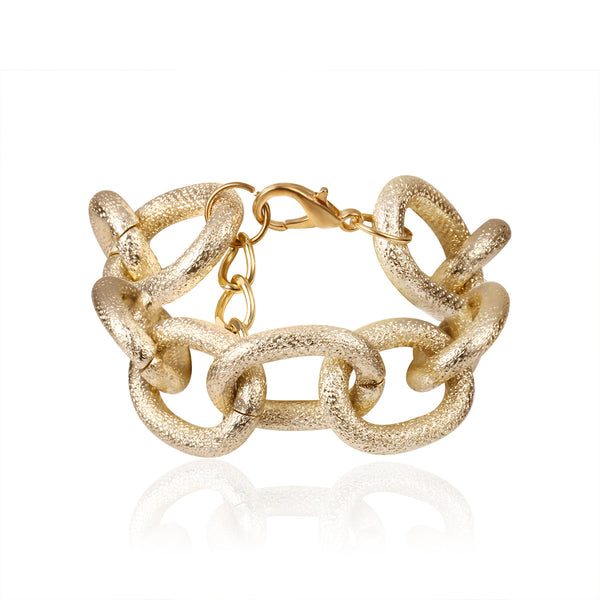 Metallic Large Curb Chain Bracelet - Damnbling
