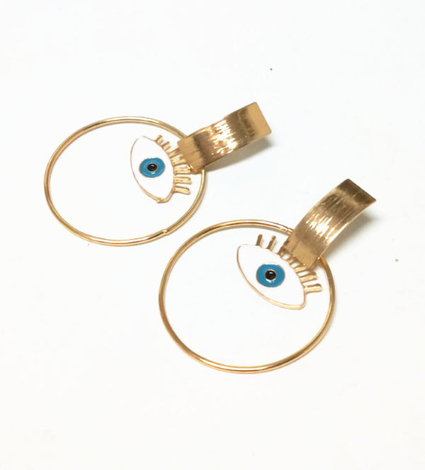 White Evil Eye Gold Hoop Earrings - Damnbling