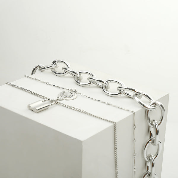 Chunky Chain Lock Layering Necklace - Damnbling