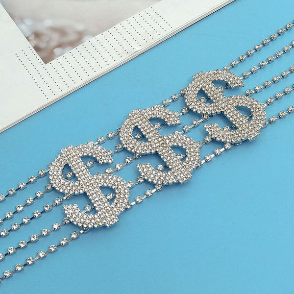 Money Sign $ Bling Wide Choker - Damnbling