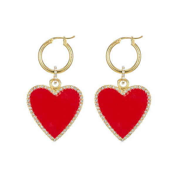Glossy Blood Heart Mini Hoop Earrings - Damnbling