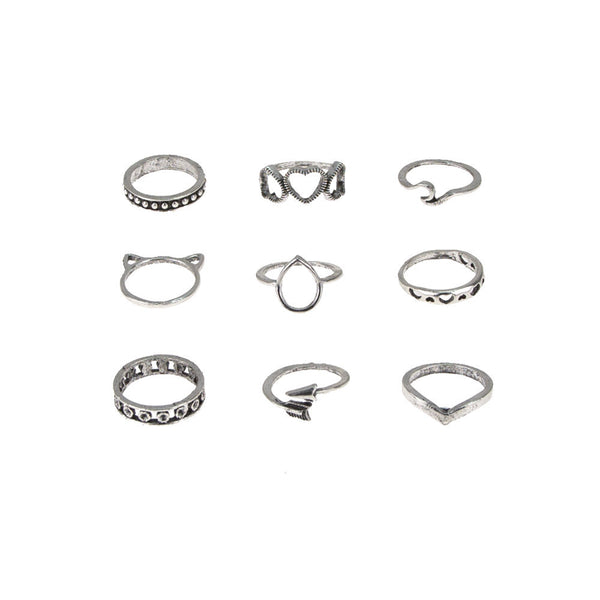 Heart Hollow Polished Silver Ring Set - Damnbling