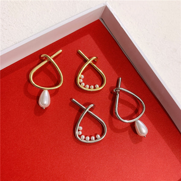 Petite Pearl Rain Oval Hoop Clip On Earrings - Damnbling
