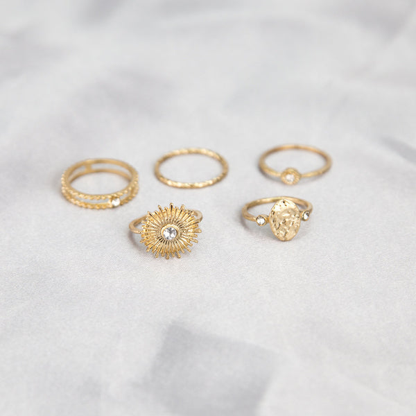 Sun Goddess Gold Ring Set - Damnbling