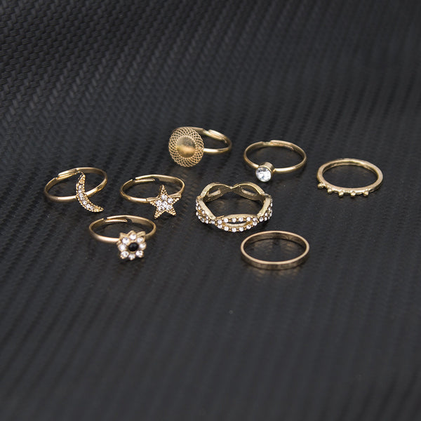 Moon Goddess Series Gold Ring Set - Damnbling