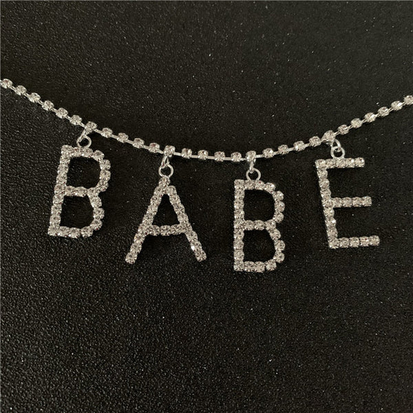 SLUT BABE Diamond Text Waist Body Chain - Damnbling