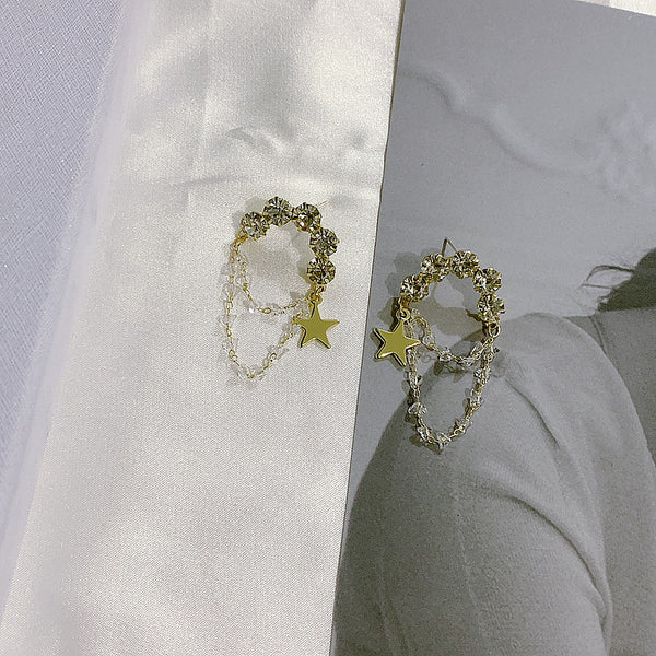 Crystal Stone Star Hoop Earrings - Damnbling