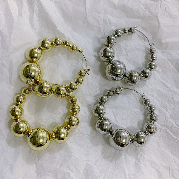 Metallic Bead Hoop Earrings - Damnbling