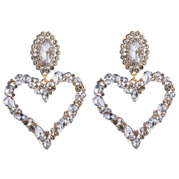 Crazy Diamond Heart Hoop Earrings - Damnbling