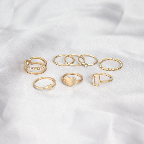 Cutie Heart Gold Ring Set - Damnbling