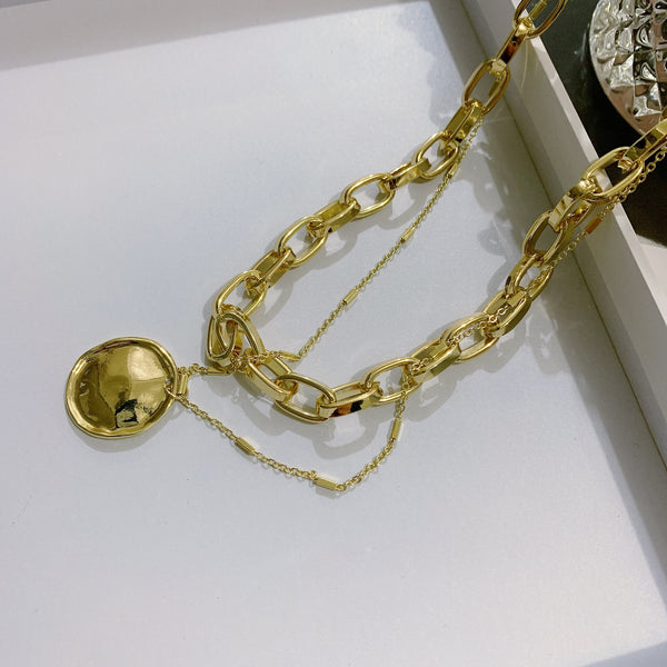 Gold Wrinkled Coin Layering Necklace - Damnbling