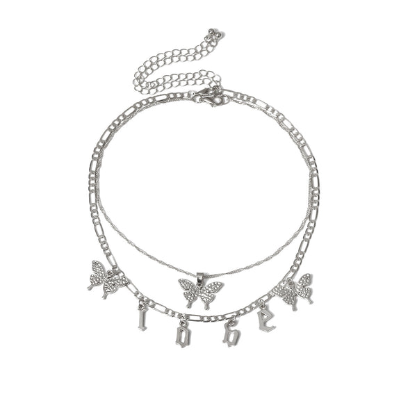 Butterfly Love Short Layering Necklace - Damnbling