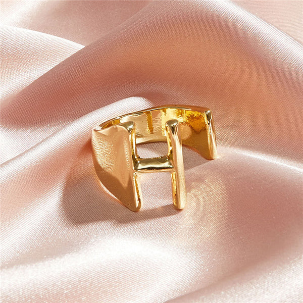 Choose Your Letter Adjustable Gold Statement Ring - Damnbling