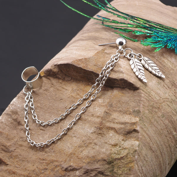 Leaf Chain Ear Cuff - Damnbling