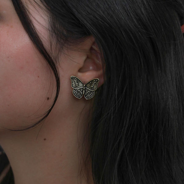 Vintage Metal Butterfly Post Earrings - Damnbling