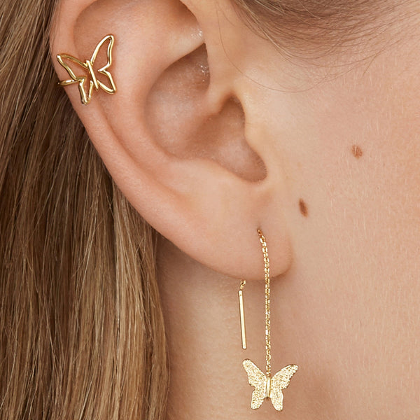Gold Butterfly Ear Cuff Earrings Set - Damnbling