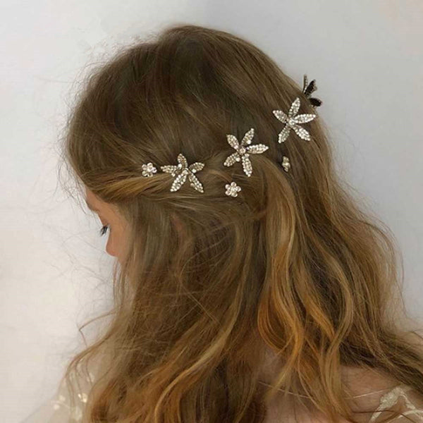 Diamond Forest Flower Hair Pin - Damnbling
