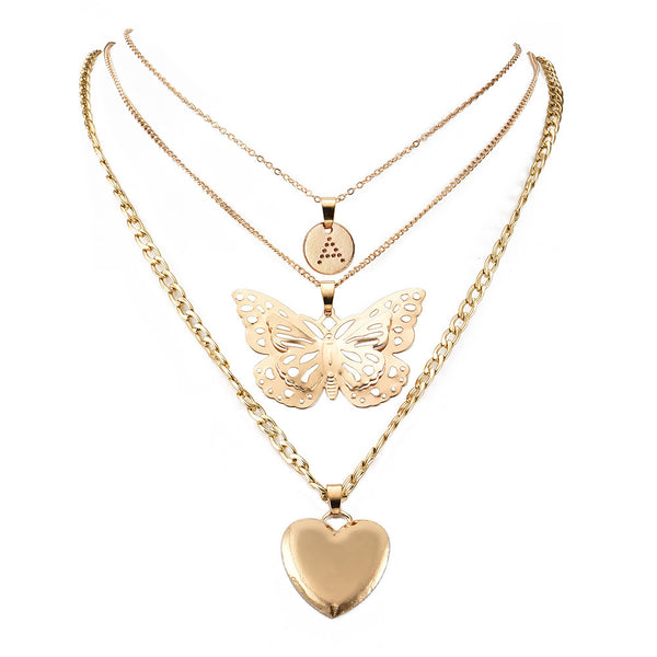 Butterfly Gold Heart Layering Necklace - Damnbling