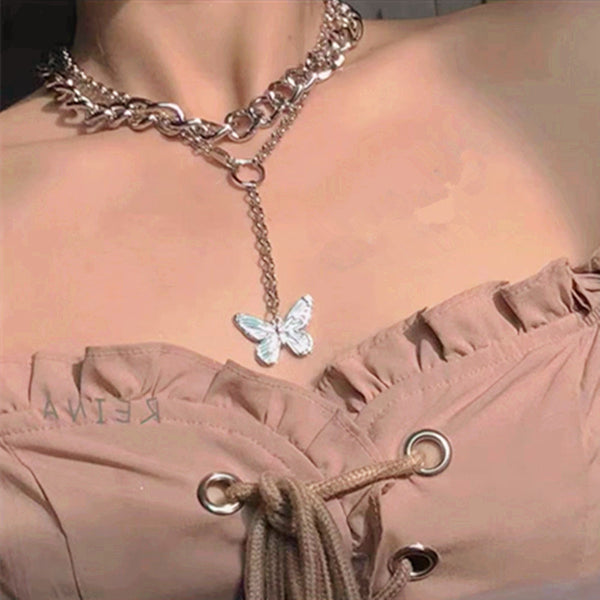 Silver Curb Bling Butterfly Long Necklace - Damnbling