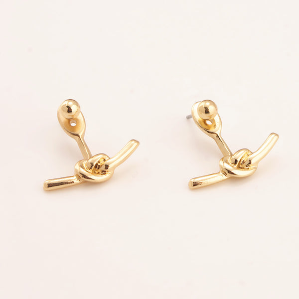 Golden Twisted Knot Front Back Earrings - Damnbling