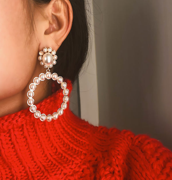 Vintage Fleur Pearl Hoop Earrings - Damnbling