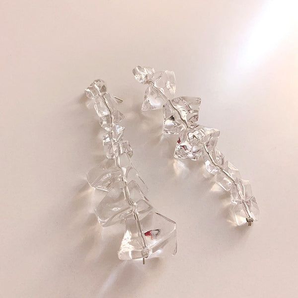 Summer Ice Crystal Long Drop Earrings - Damnbling