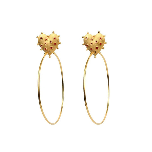 Vintage Gold Spiky Heart Crazy Hoop Earrings - Damnbling