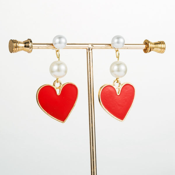Red Heart Gold Pearl Drop Earrings - Damnbling