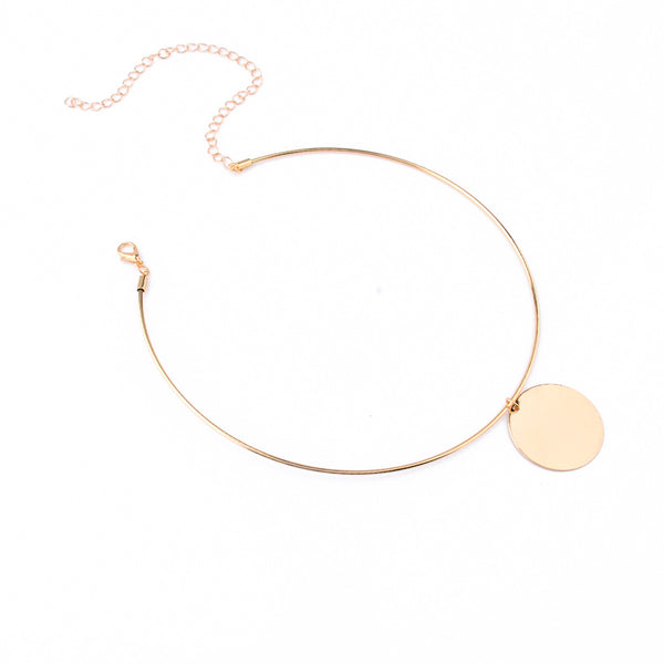 Polished Gold Coin Short Necklace - Damnbling
