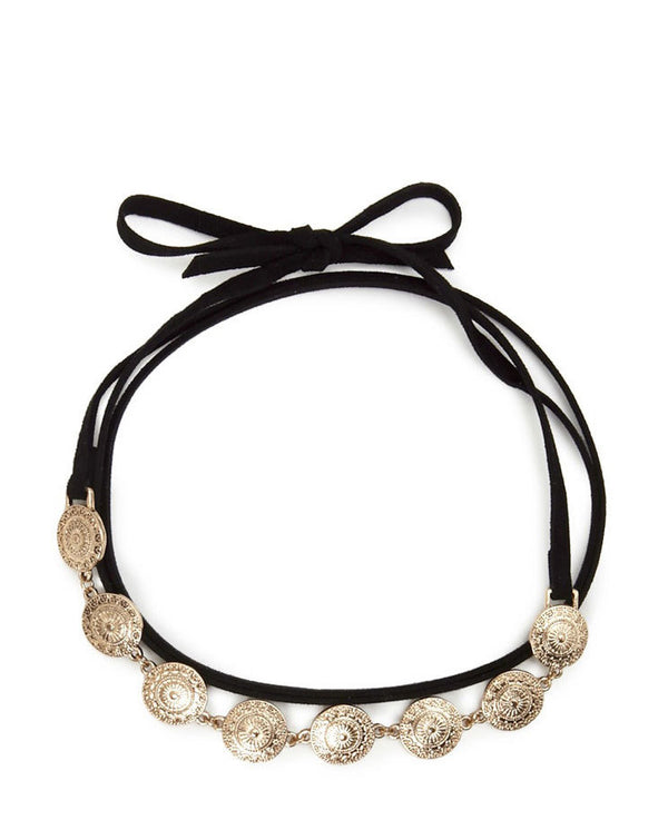 Leather Coin Charm Choker - Damnbling