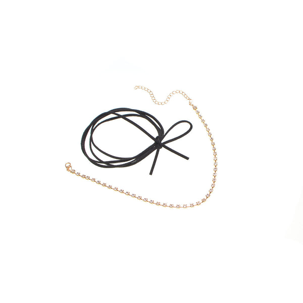 Thin Bow Know Choker Layering Necklace - Damnbling